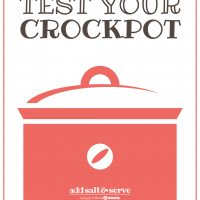 Drawing of a crockpot with text how to test your crockpot