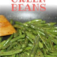 Seasoned green beans in a skillet with a wooden spoon with text Seasoned Green Beans - Add Salt & Serve logo