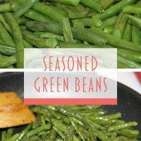 Composite image: top photo is green beans in a colandar. Bottom photo is seasoned green beans in a skillet with a wooden spoon. Text is Seasoned Green Beans - Add Salt & Serve logo