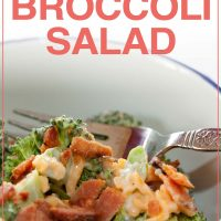 Broccoli, shredded cheddar cheese, bacon bits, and mayonnaise in a bowl with a fork; text Make Ahead Broccoli Salad Add Salt & Serve formerly Menus4Moms