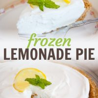 Top image of a slice of frozen lemonade pie garnished with a twisted slice of lemon and mint with bottom image of entire pie with a slice missing and the same garnishes, text Frozen Lemonade Pie Menus4Moms