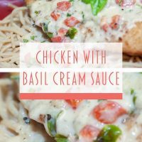 Composite image: top and bottom photos are both breaded chicken breast covered with a cream sauce and resting on a plate of spaghetti. Text is Chicken with Basil Cream Sauce - Add Salt & Serve logo