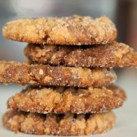 Stack of five Nutella Peanut Butter Cookies