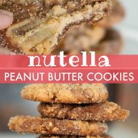 A stack of Nutella Peanut Butter Cookies