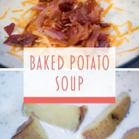 Composite image: Top photo is baked potato soup topped with shredded cheddar cheese and chopped bacon. Bottom photo is chopped potatoes in a bowl of baked potato soup. Text; Baked Potato Soup - Add Salt & Serve logo