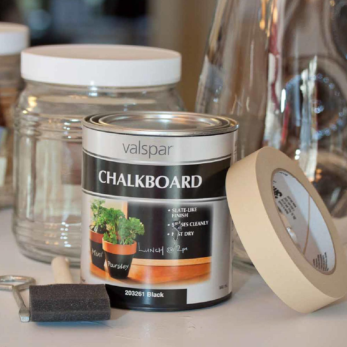 Chalkboard paint & supplies with glass jars