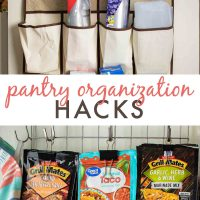Pantry organization hacks: packets on clips & hooks and baggies in an over the door shoe organizer