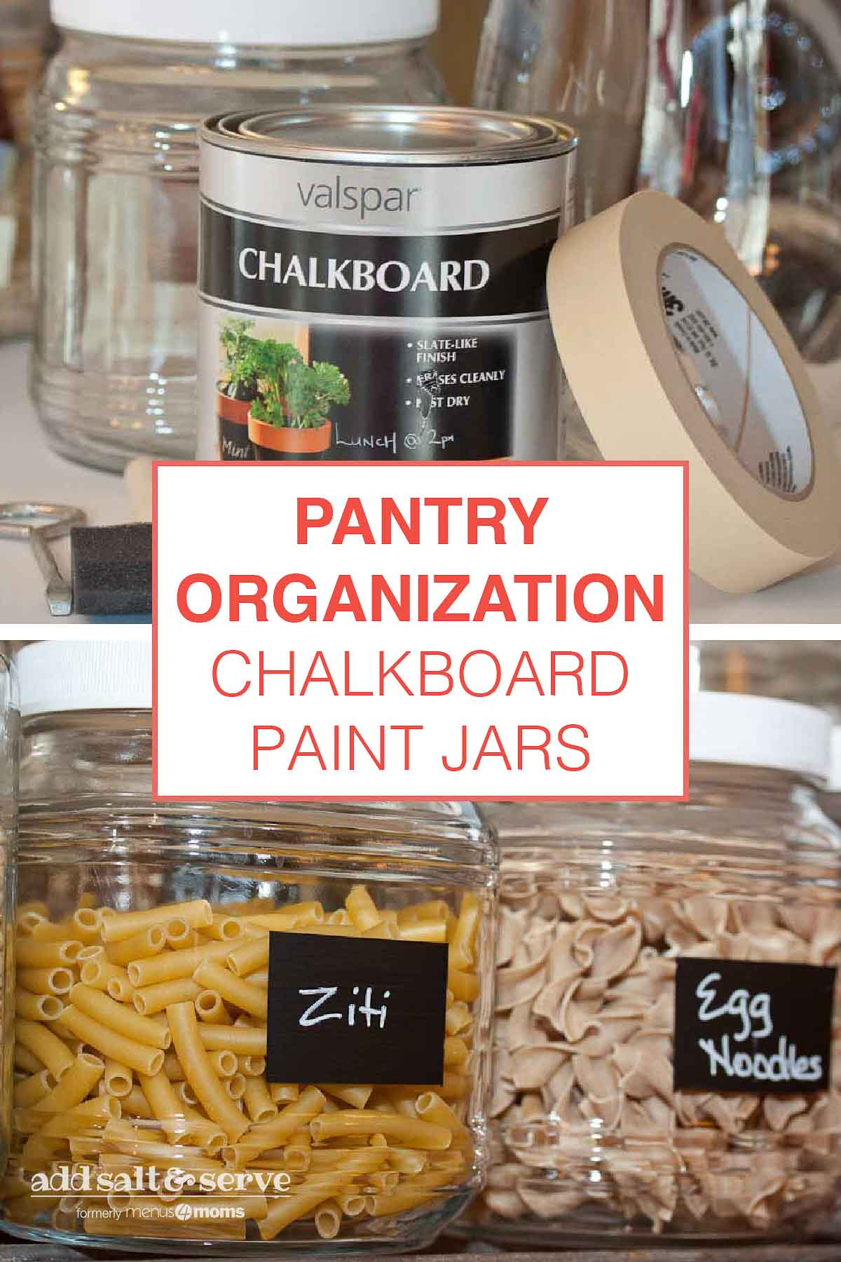 jars painted with chalkboard paint and labeled with markers