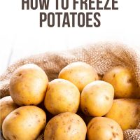 Image of raw potatoes with text bulk cooking how to freeze potatoes