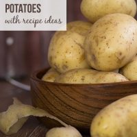 Image of raw potatoes with text How to freeze potatoes with recipe ideas