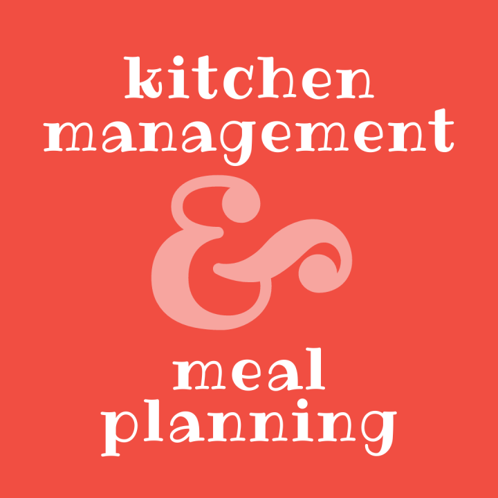 Kitchen Management and Meal Planning (text on a coral background)