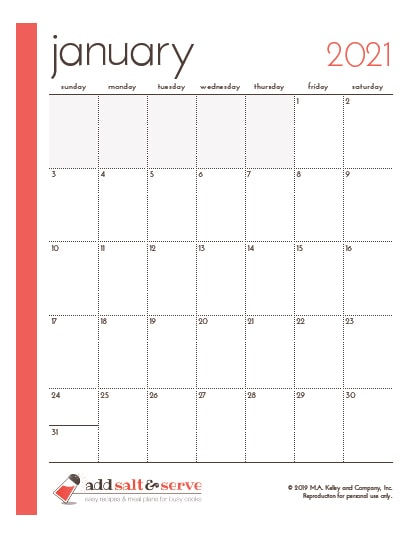screenshot of monthly calendar page for January 2021