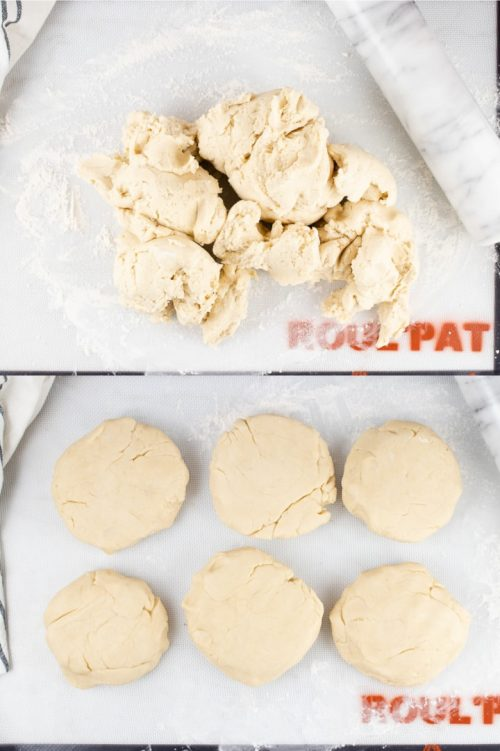 Composite image with top image showing a lump of pie crust dough on a floured rolling mat and bottom image showing the same dough separated into 6 thick circles of dough for the freezer