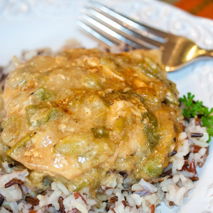 Chicken with chili cream sauce on a bed of rice on a white plate. There is a fork at the top of the plate.