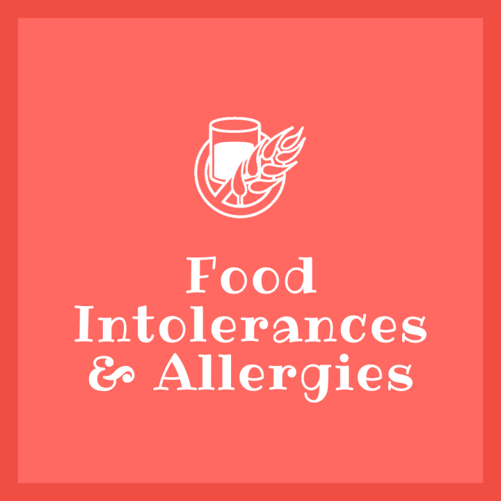 Icon representing no wheat or dairy with text Food Intolerances & Allergies