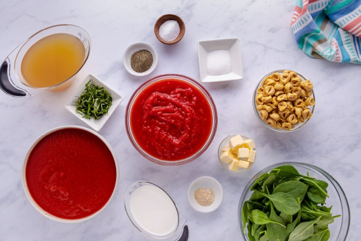 ingredients for Tomato Spinach Tortellini Soup