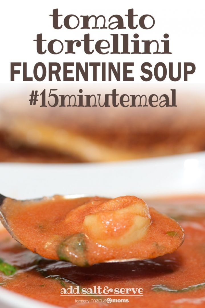 Spoonful of tomato soup with tortellini and spinach hovering over a bowl of the soup and text Tomato Tortellini Florentine Soup