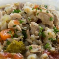 Chicken Barley Vegetable Soup with Herbs