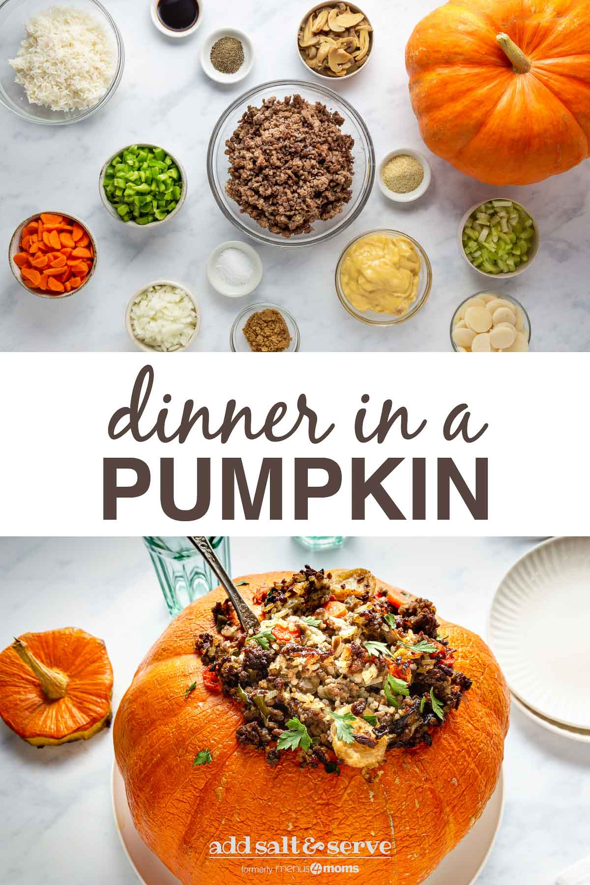 ground beef and rice dinner in a pumpkin