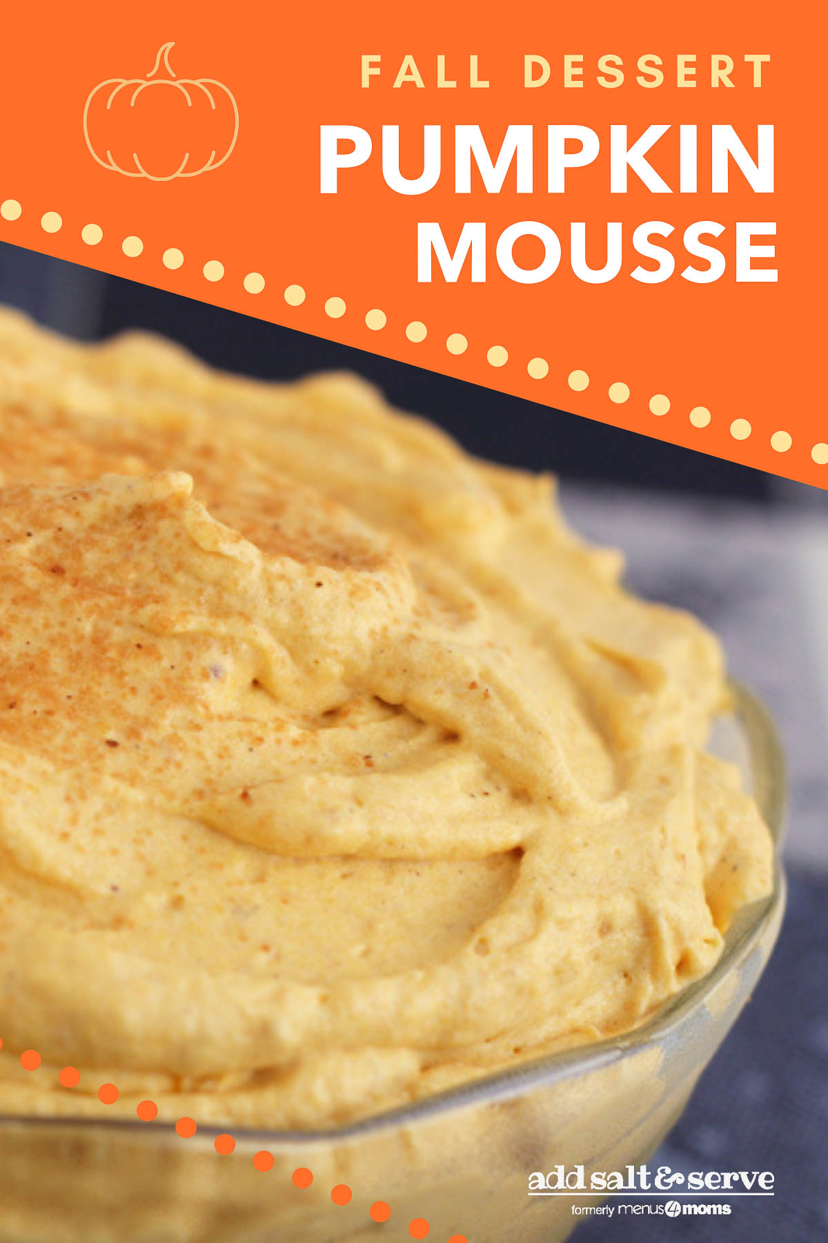 Pumpkin Mousse garnished with cinnamon