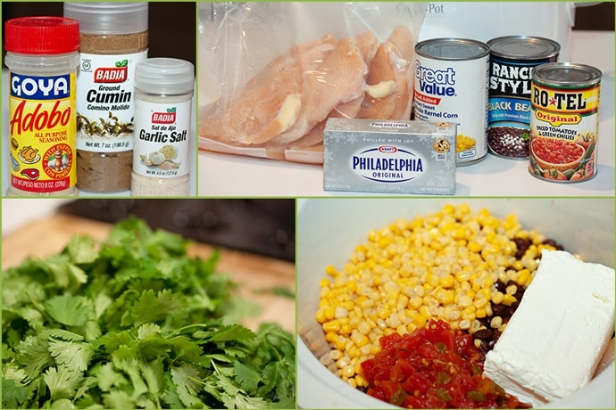 Composite image with 4 sections: 1 - adobo seasoning, cumin, and garlic salt; 2 - raw chicken breast, cream cheese, canned corn, canned black beans, and canned Rotel; 3 - fresh cilantro; 4 - crockpot with corn, black beans, Rotel, and cream cheese inside