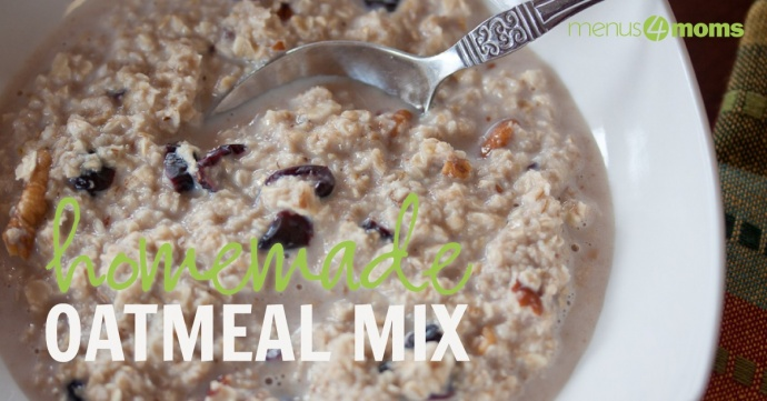 "Oatmeal in a white bowl with spoon and text ""Homemade Oatmeal Mix"""