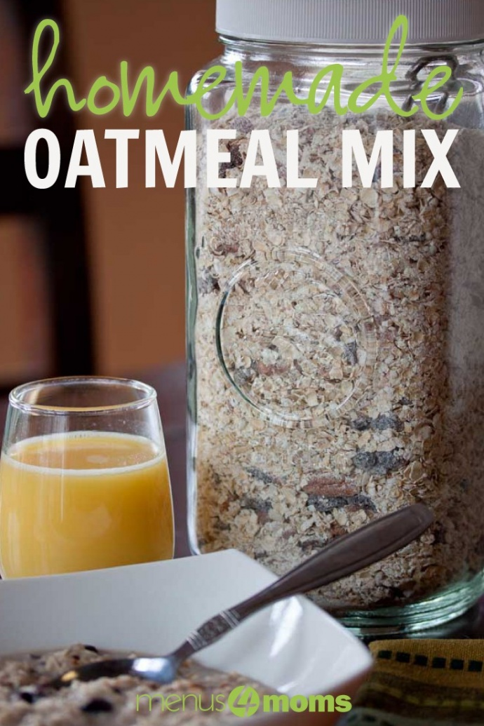 "Oatmeal in a white bowl with spoon, glass of orange juice, jar of homemade instant oatmeal mix and text ""Homemade Oatmeal Mix"""