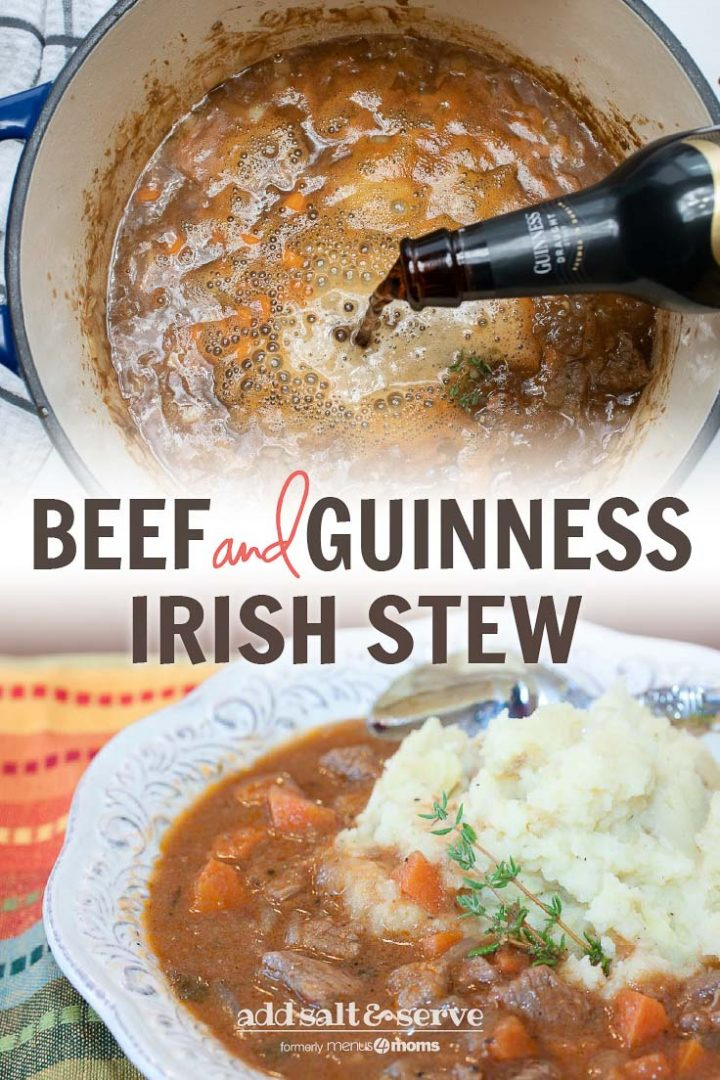 Pot of Beef Stew with Guinness beer pouring in and bowl of finished beef and guinness stew over mashed potatoes with a spoon and Guinness Stew