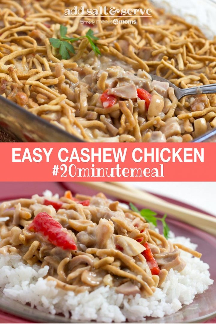 Chopped chicken with red peppers and mushrooms in a creamy sauce over white rice and garnished with chow mein noodles and text Easy Cachew Chicken #20minutemeal