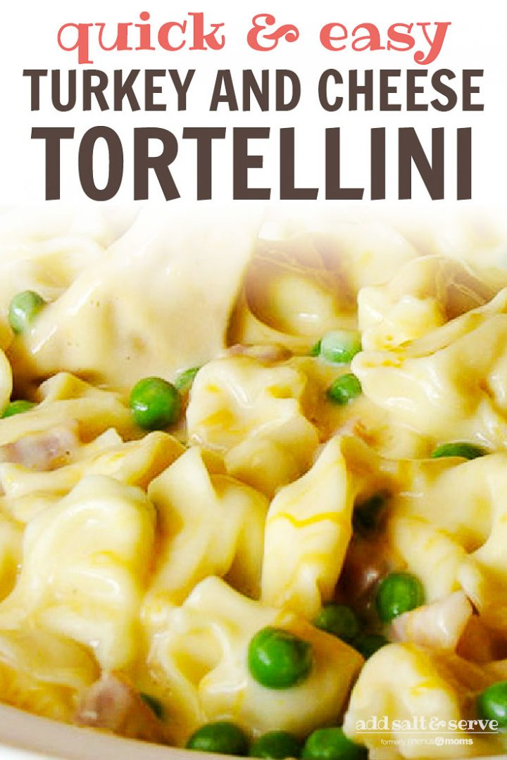 Cooked tortellini in a cheesy sauce with cubed turkey and peas