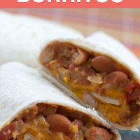 Vegetable Burrito Recipe; text Bean & Cheese Burritos Add Salt & Serve formerly Menus4Moms