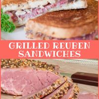 Composite image. Top photo is two Reuben sandwiches on a white plate. Bottom photo is slices of corned beef on a wooden cutting board. Text is Add Salt & Serve formerly Menus4Moms Grilled Reuben Sandwiches