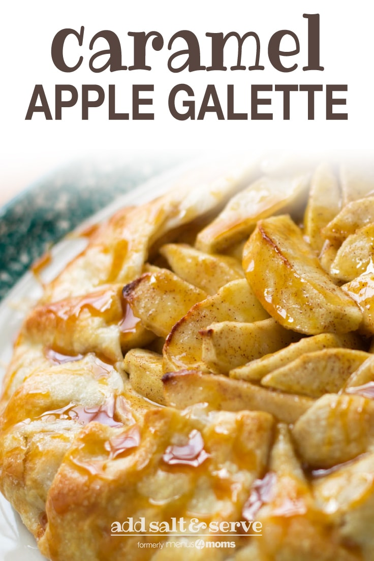 Baked apple galette drizzled with caramel sauce