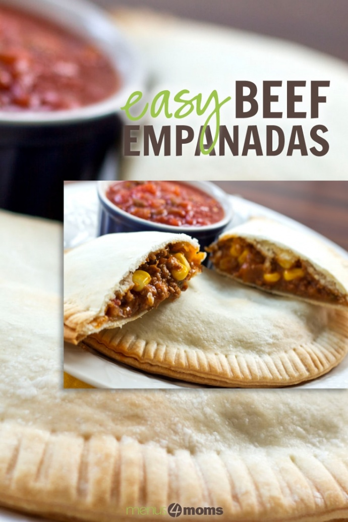 beef and corn filling in a pastry crust with salsa in the background and text Easy Beef Empanadas Add Salt & Serve