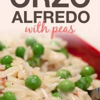 Orzo Alfredo with Peas on a plate