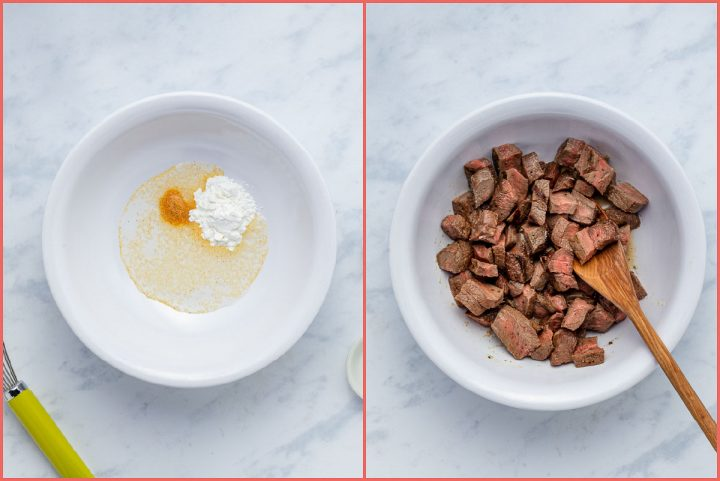 composite image of a bowl with water, cornstarch, and garlic salt and a bowl with leftover steak
