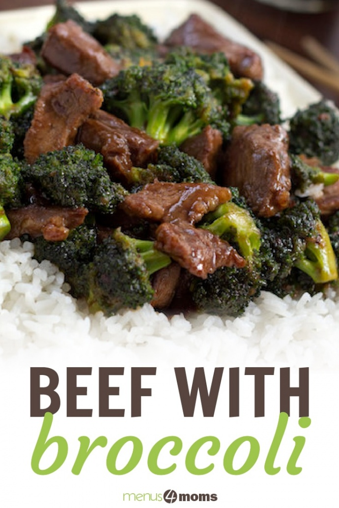 Beef slices with broccoli in a soy-based sauce served over white rice on a white plate with chopsticks to the side and text Beef wiht Broccoli Menus4Moms