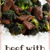 Beef slices with broccoli in a soy-based sauce served over white rice on a white plate with chopsticks to the side and tetxt Beef with Broccoli - Add Salt & Serve