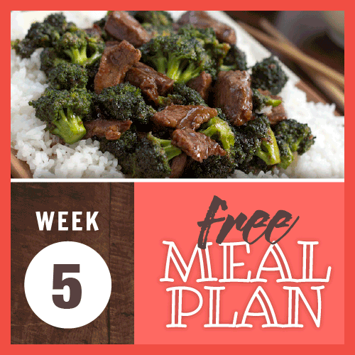 Week 5 Free Meal Plan; image of beef slices with broccoli in a brown sauce served over rice