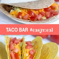 Composite image with top image showing soft taco with shredded lettuce, grated cheese, and chopped tomatoes and bottom image showing hard tacos garnished the same way and text Taco Bar #easymeal