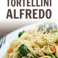 Plate of cooked tortellini and Alfredo sauce with broccoli and carrots garnished with shredded Parmesan cheese; text Vegetable Tortellini Alfredo Add Salt & Serve