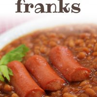 Baked beans in a white bowl with three hot dogs. Text Bean & Franks Add Salt & Serve formerly menus4moms