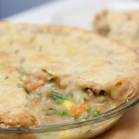 Chicken Pot Pie in a glass pie plate