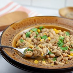 white chicken chili with cilantro