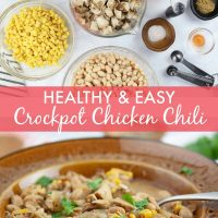 healthy & easy crockpot chicken chili - add salt & serve