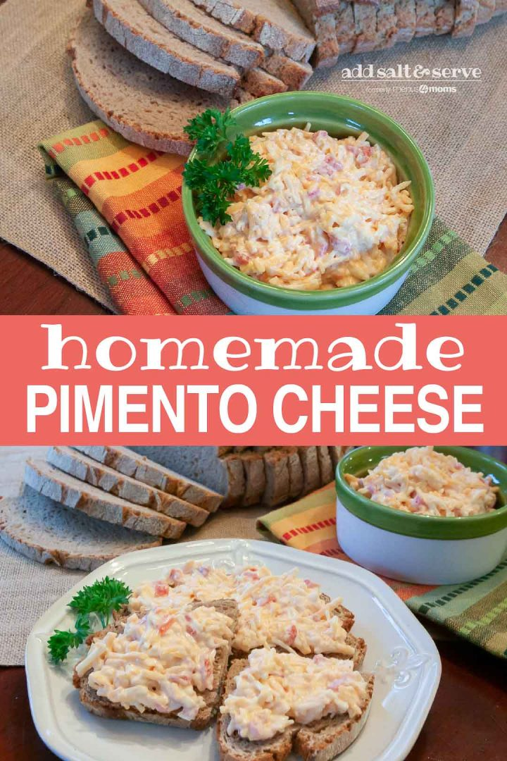 Top photo is Homemade Pimento Cheese in a green and white bowl, garnished with a sprig of parsley. There is an unpackaged loaf of sliced bread at the top of the photo. Bottom photo is slices of bread topped with pimento cheese, on a white plate. A sliced loaf of bread is in the background on the left. The bread is on a gray woven placemat. A green and white bowl full of pimento cheese is in the background on the right. The bowl is on a green, orange, yellow, and blue striped linen napkin. Text Add Salt & Serve formerly Menus4Moms Homemade Pimento Cheese