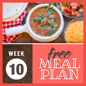 Week 10 Free Meal Plan; overhead image of crock of beef stew with tomatoes and cilantro surrounded by flour tortillas, pico de gallo, and shredded cheddar cheese