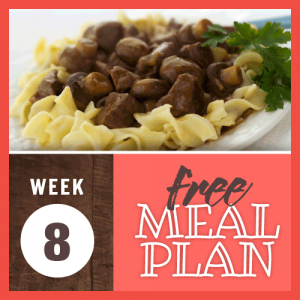 Week 8 free meal plan; image of egg noddles topped with chicken and mushrooms in a brown sauce