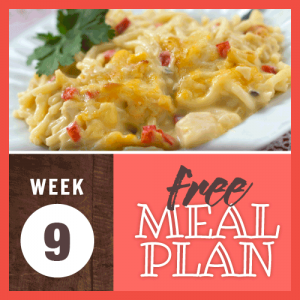 Week 9 free meal plan; image of spaghetti and chicken in a creamy sauce with chopped red peppers