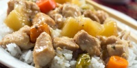 Slow Cooker Sweet and Sour Chicken over white rice